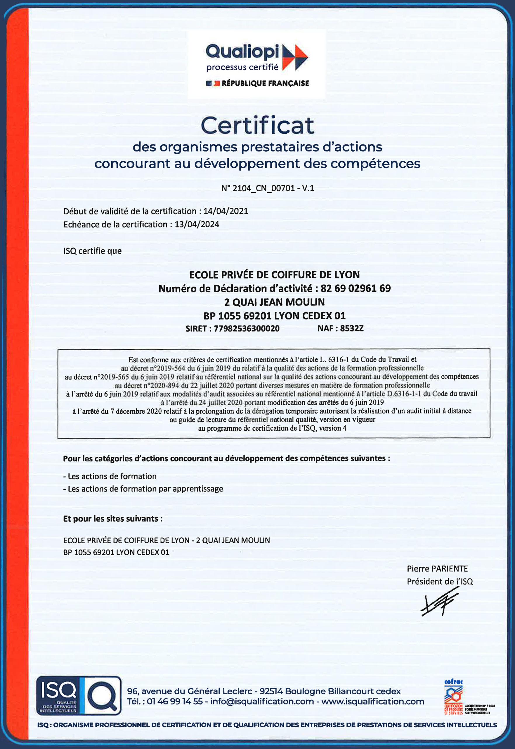 certification qualiopi école de coiffure de lyon